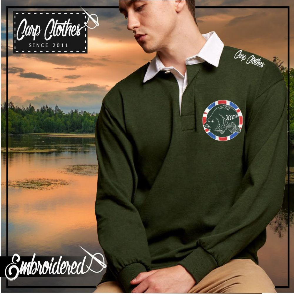 030 EMBROIDERED CARP RUGBY SHIRT